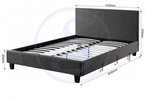 200-203-079 Prado 4'6 Bed Grey Fabric - IWFurniture