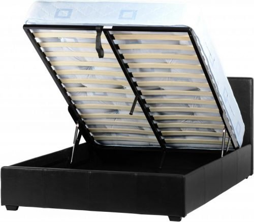 200-204-015 Prado Plus 5′ Storage Bed Black Faux Leather - IWFurniture