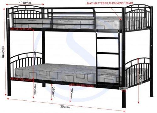 200-205-016 Ventura 3′ Bunk Bed Black - IWFurniture