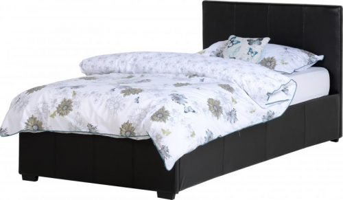 200-201-036Waverley 3ft Storage Bed Black Faux Leather – IW Furniture Beds