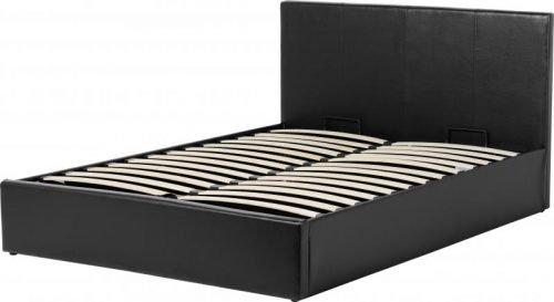 Waverley 4'6 Storage Bed Black Faux Leather
