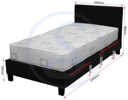Prado 3ft Bed Black Faux Leather – IW Furniture Beds