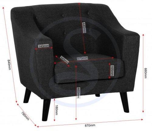 300-308-027Ashley Chair Dark Grey Fabric - IWFurniture