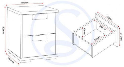 100-103-006 Cambourne 2 Drawer Bedside Chest - IWFurniture