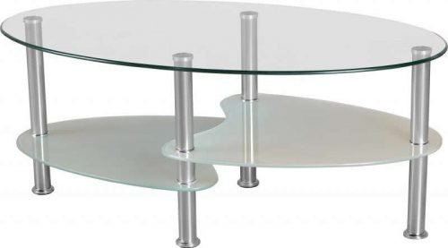 300-301-008 Cara Coffee Table Clear Glass-Frosted Glass-Silver - IWFurniture