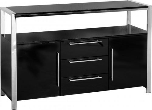400-405-004 Charisma 2 Door 3 Drawer Sideboard Black Gloss – Chrome - IWFurniture