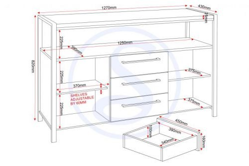 400-405-029 Charisma 2 Door 3 Drawer Sideboard Grey Gloss – Chrome - IWFurniture