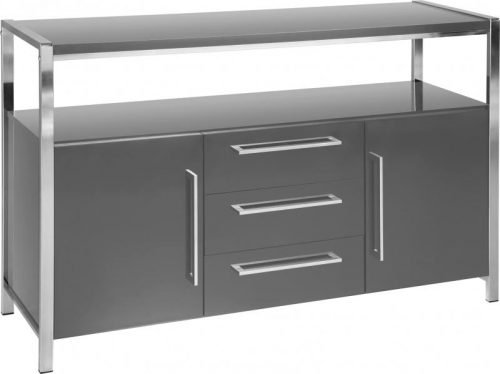 400-405-029 Charisma 2 Door 3 Drawer Sideboard Grey Gloss – Chrome - IWFurniture