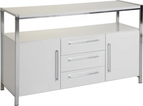 400-405-005 Charisma 2 Door 3 Drawer Sideboard White Gloss – Chrome - IWFurniture