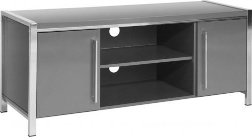 300-305-038 Charisma 2 Door TV Unit Grey Gloss – Chrome - IWFurniture