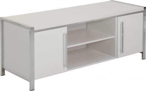300-305-006 Charisma 2 Door TV Unit White Gloss – Chrome - IWFurniture