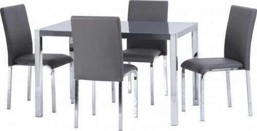 400-401-168 Charisma 4ft Dining Set Grey Gloss – Chrome - IWFurniture