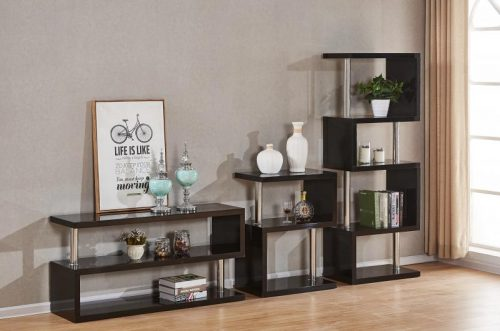 300-306-033 Charisma 5 Shelf Unit Black Gloss – Chrome - IWFurniture