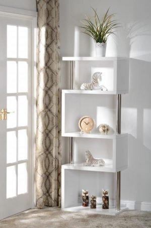 Charisma 5 Shelf Unit White Gloss - Chrome