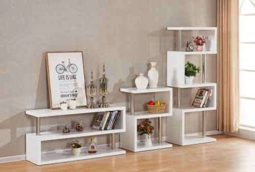 300-306-034 Charisma 5 Shelf Unit White Gloss – Chrome - IWFurniture
