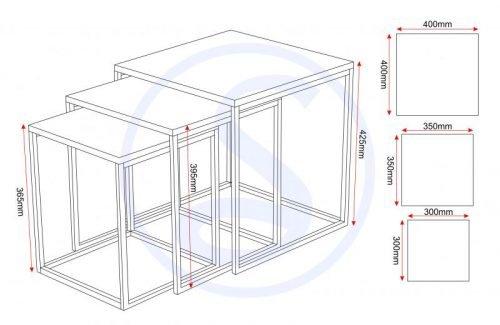 300-303-007 Charisma Nest of Tables Black Gloss – Chrome - IWFurniture