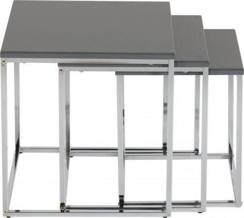 300-303-029 Charisma Nest of Tables Grey Gloss – Chrome - IWFurniture