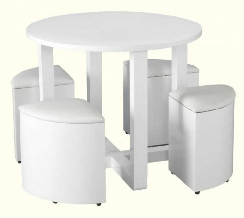 400-401-031 Charisma Stowaway Dining Set White Gloss – Chrome - IWFurniture