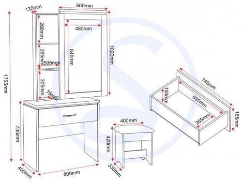 100-107-008 Charles 1 Drawer Dressing Table Set White – Black - IWFurniture