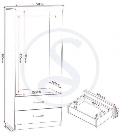 100-101-014 Charles 2 Door 2 Drawer Wardrobe Oak - IWFurniture