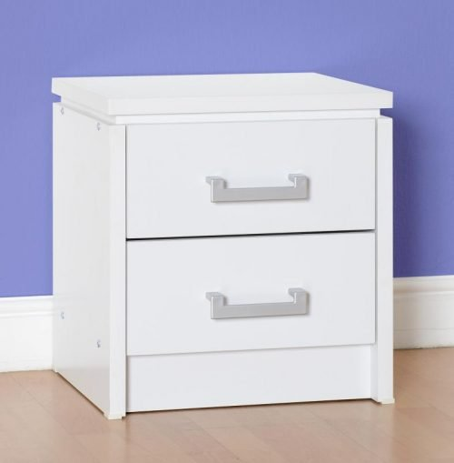 100-103-029 Charles 2 Drawer Bedside Chest White - IWFurniture