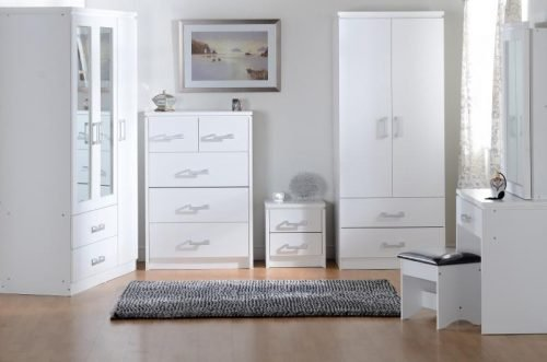 100-101-051 Charles 3 Door 2 Drawer Mirrored Wardrobe White - IWFurniture