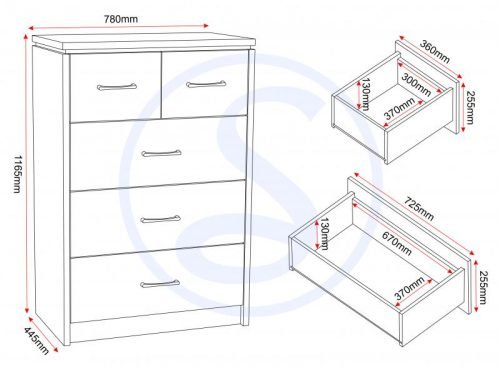 100-102-058 Charles 3 plus 2 Drawer Chest White - IWFurniture