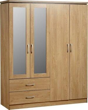 Charles 4 Door 2 Drawer Mirrored Wardrobe Oak
