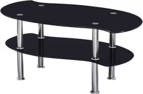 300-301-013 Colby Coffee Table Black Glass-Silver - IWFurniture