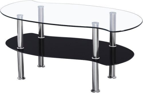 300-301-014 Colby Coffee Table Clear Glass-Black Glass-Silver - IWFurniture