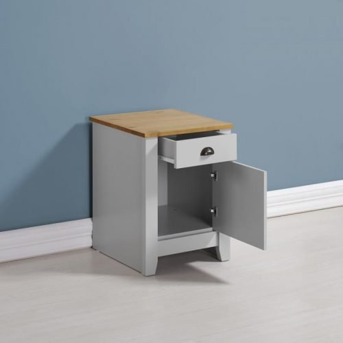 100-103-042 Ludlow 1 Drawer 1 Door Bedside Cabinet Grey-Oak Lacquer - IWFurniture