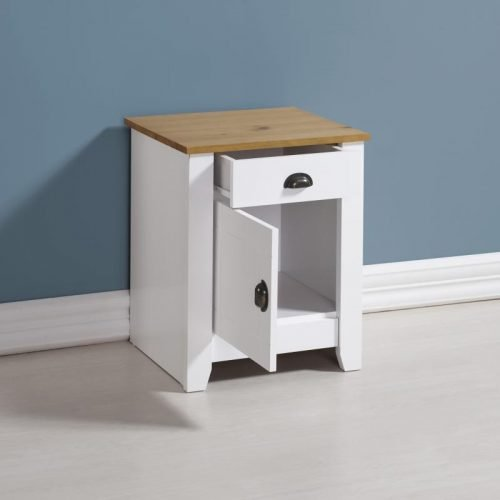 100-103-041 Ludlow 1 Drawer 1 Door Bedside Cabinet White-Oak Lacquer - IWFurniture