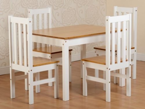 400-401-107 Ludlow 1 plus 4 Dining Set White-Oak Lacquer - IWFurniture