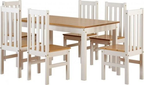 400-401-137 Ludlow 1 plus 6 Dining Set White-Oak Lacquer - IWFurniture