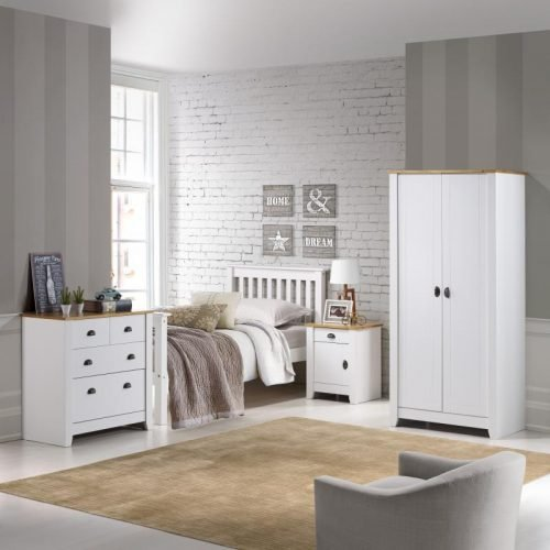 100-101-065 Ludlow 2 Door Wardrobe White-Oak Lacquer - IWFurniture