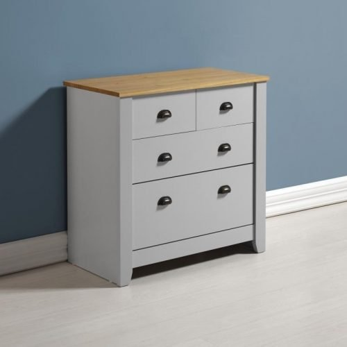 100-102-078 Ludlow 2 plus 2 Drawer Chest Grey-Oak Lacquer - IWFurniture