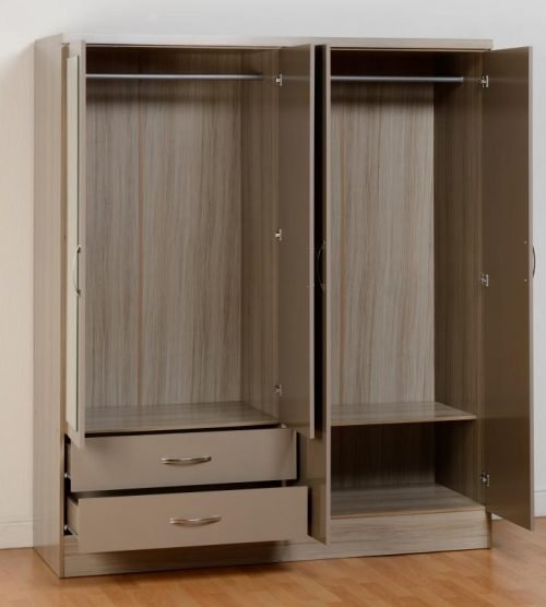 100-101-076 Nevada 4 Door 2 Drawer Mirrored Wardrobe - IWFurniture