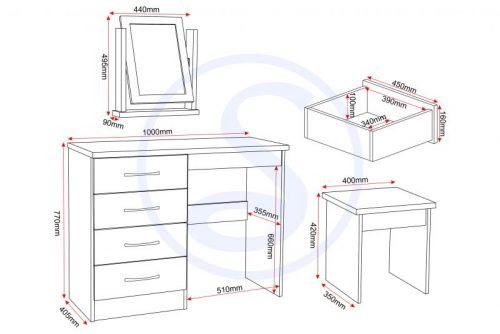 Nevada 4 Drawer Dressing Table Set White Gloss