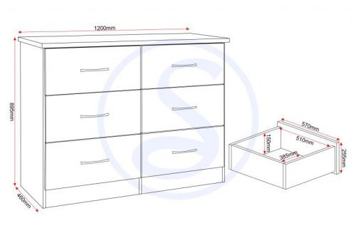Nevada 6 Drawer Chest White Gloss