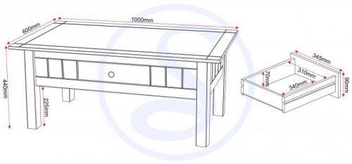 300-301-024 Panama 1 Drawer Coffee Table - IWFurniture