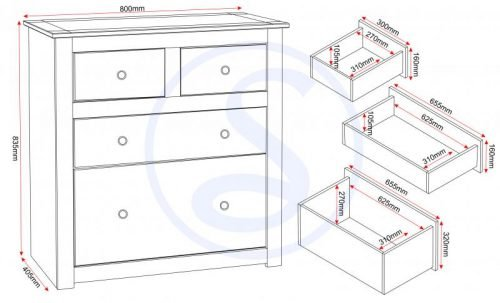 100-102-042 Panama 2+2 Drawer Chest - IWFurniture