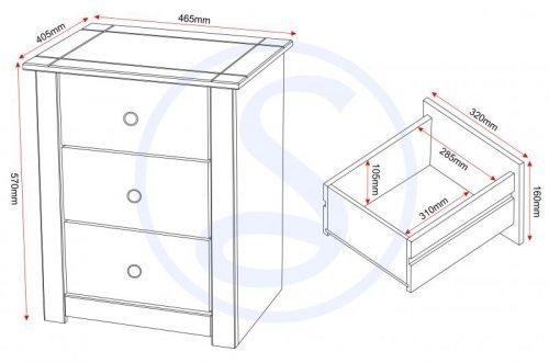 100-103-021 Panama 3 Drawer Bedside Chest - IWFurniture