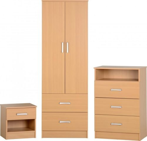 100-108-003 Polar Bedroom Set Beech - IWFurniture
