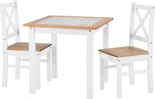 400-401-174 Salvador 1 plus 2 Tile Top Dining Set White - IWFurniture