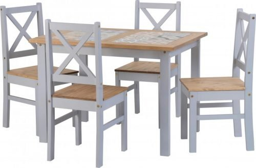 400-401-173 Salvador 1 plus 4 Tile Top Dining Set Slate Grey - IWFurniture