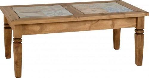 300-301-039 Salvador Tile Top Coffee Table, Distressed Waxed Pine - IWFurniture