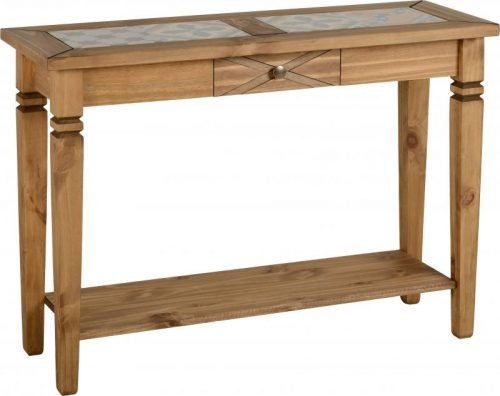 300-304-014 Salvador Tile Top Console Table, Distressed Waxed Pine - IWFurniture