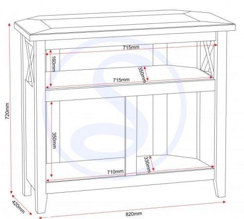 300-305-035 Salvador Tile Top Corner TV Unit, Distressed Waxed Pine - IWFurniture