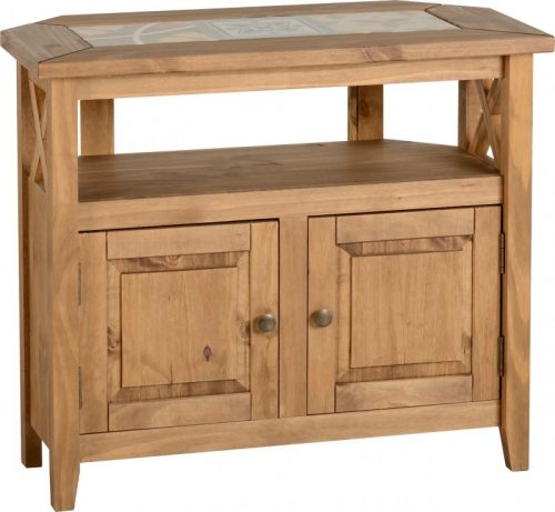300-305-035 Salvador Tile Top Corner TV Unit, Distressed Waxed Pine - IWFurniture