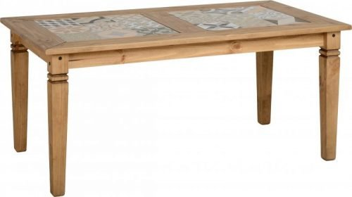 400-403-035 Salvador Tile Top Dining Table, Distressed Waxed Pine - IWFurniture